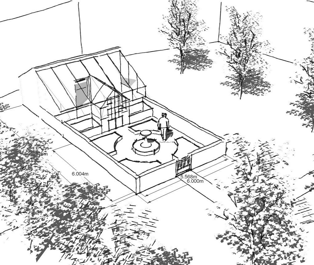 Quick sketch for a greenhouse and small kitchen garden within an orchard....