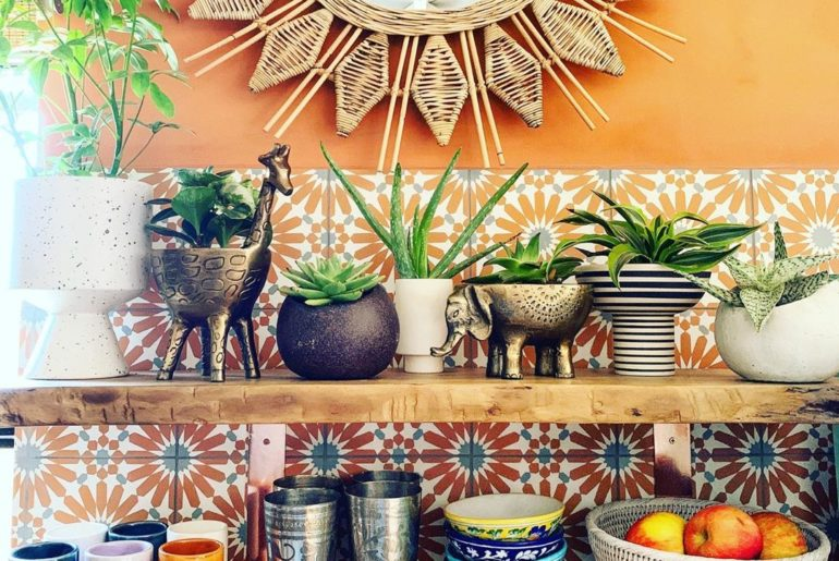 How to style open kitchen shelves the jungalicious way:  1. Collect a bunch of...