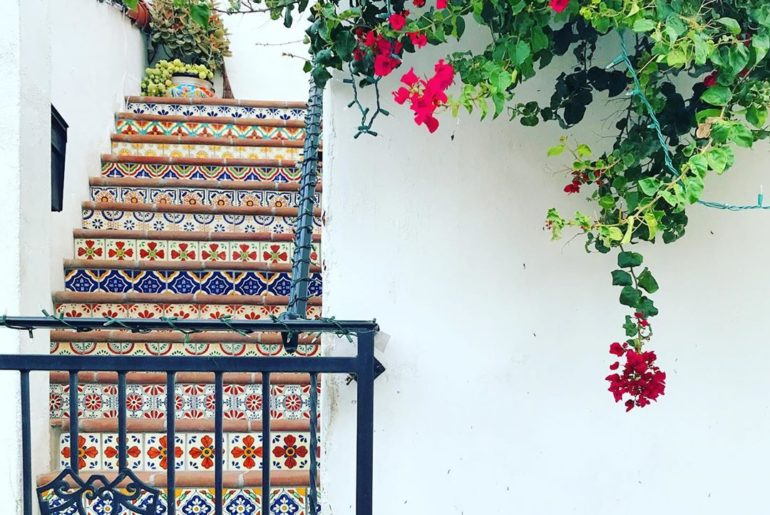 Bougainvillea and #patternedstairs could turn any home into a vacation home  #ju...