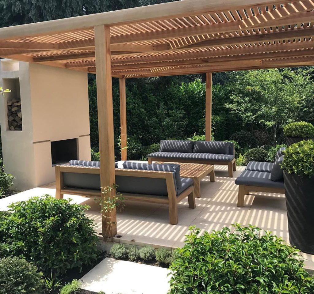 #justcompleted #new #garden latest #design #arbour #louvres #fireplace #outdoorl...