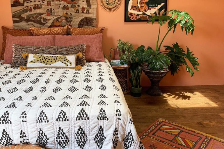 One room, three quilts! Which quilt works best in this room?  1.) Prosperity  2....