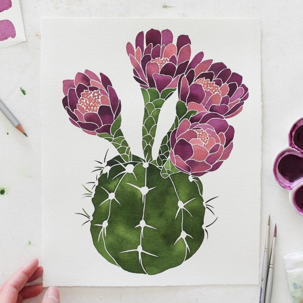 Just finished this blooming cactus this morning! Using mission watercolors red v...
