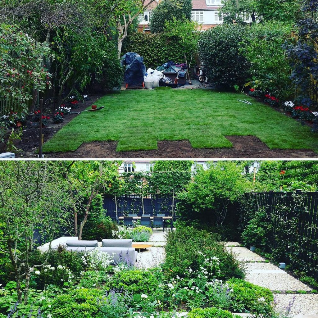 #beforeandafter a bit of a #transformation from #fakegrass to #plantingbeds and ...