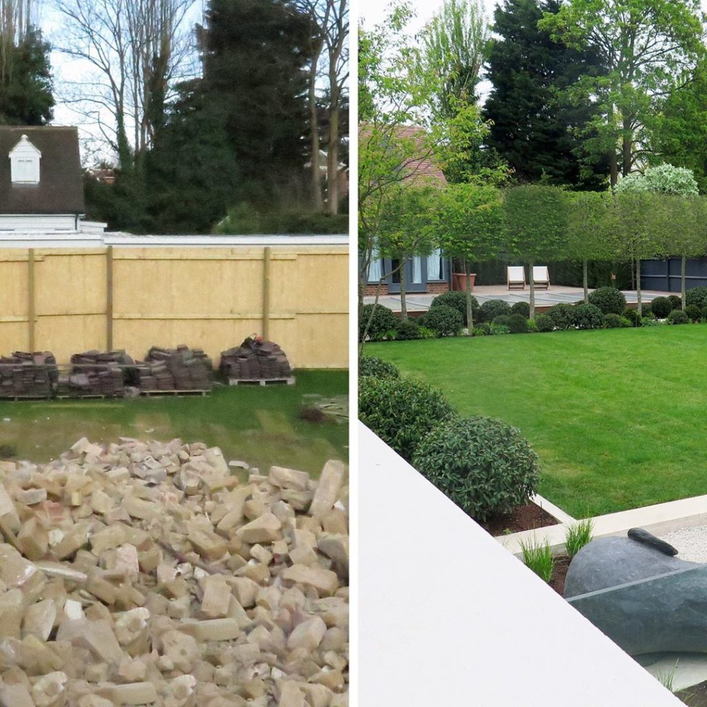 #beforeandafter from a pile of rubble to #contemporary #garden #limestone #pleac...