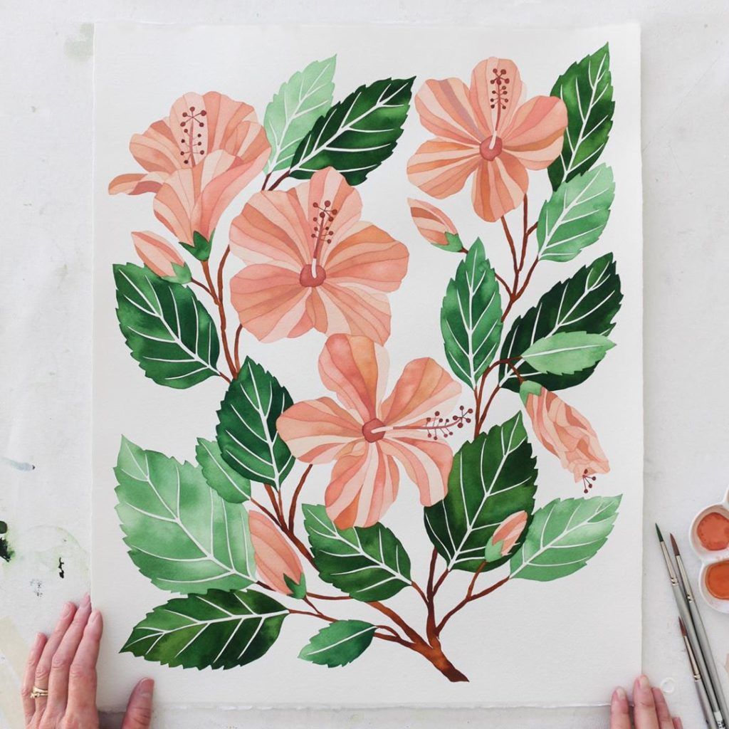 """Phew Finally finished my Hibiscus painting!  16x20"""" in watercolor. Hope you like..."""