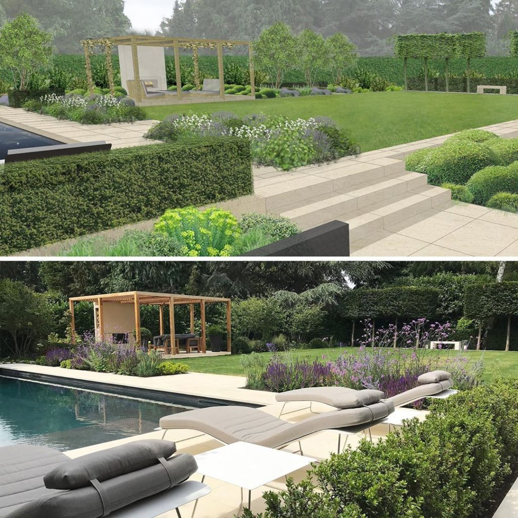 From #cgi #render to finished #swimmingpool and #garden #gardendesign #landscape...