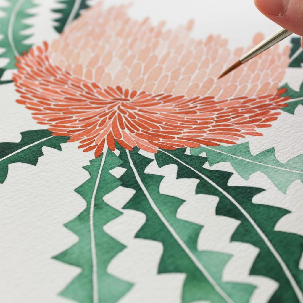 Working on an Australian native plant known as the Woolly Orange Banksia. So fun...