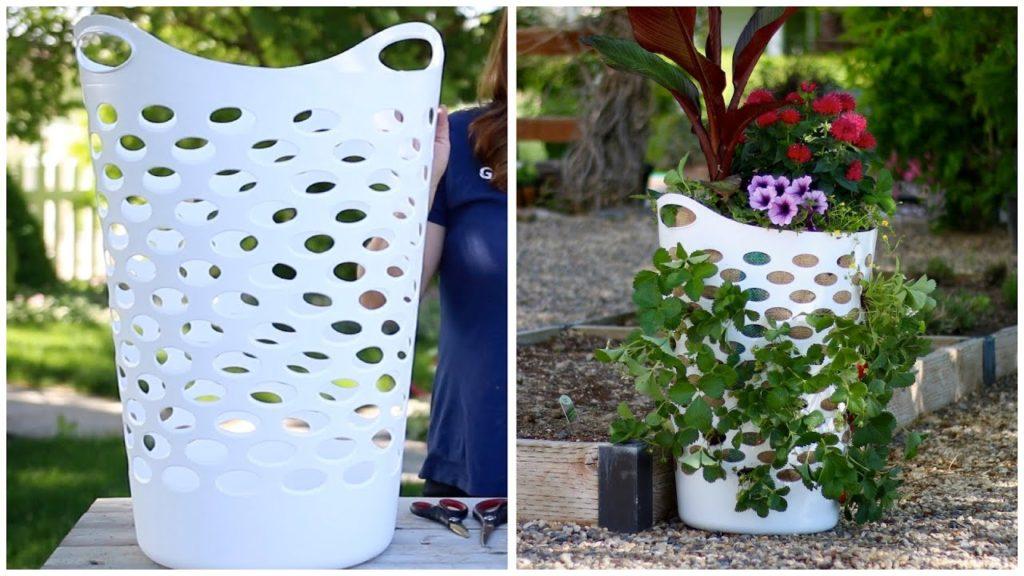 Laundry Basket Turned Strawberry Planter