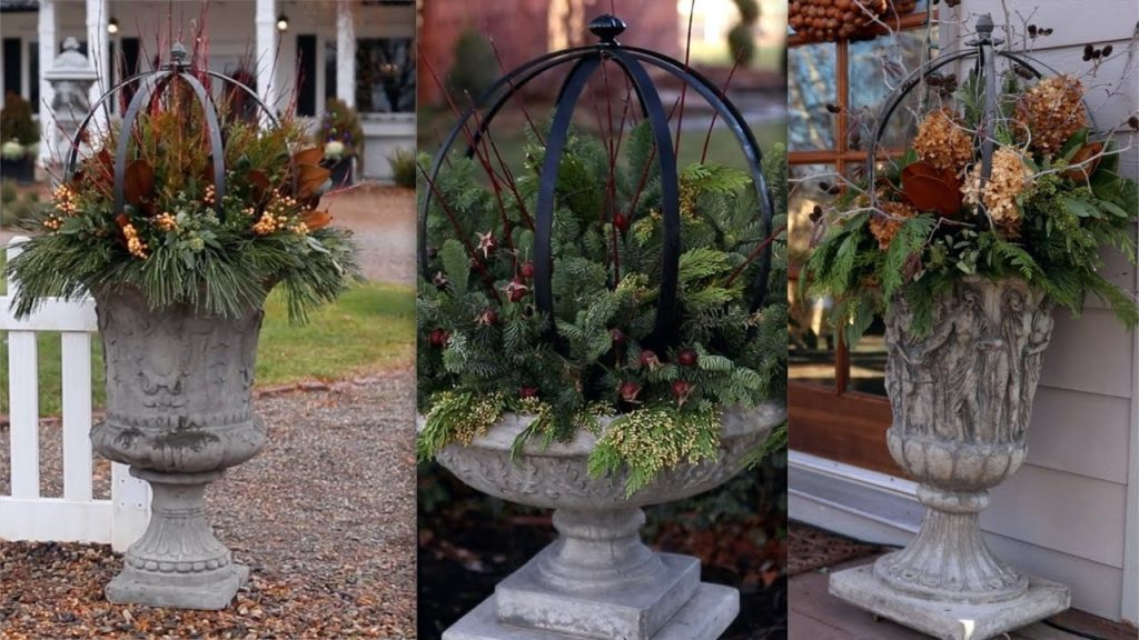 4 Ideas for Decorating Urns with Topiaries and Gathered Greens! 🌲🌿❄️
