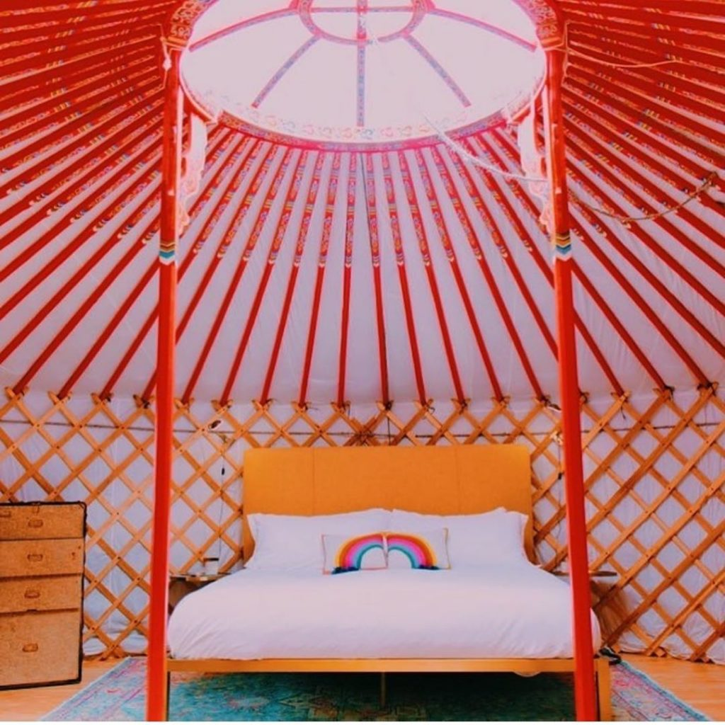 This shot from @yurtopiawimberley's feed is making me want to built a yurt in my...