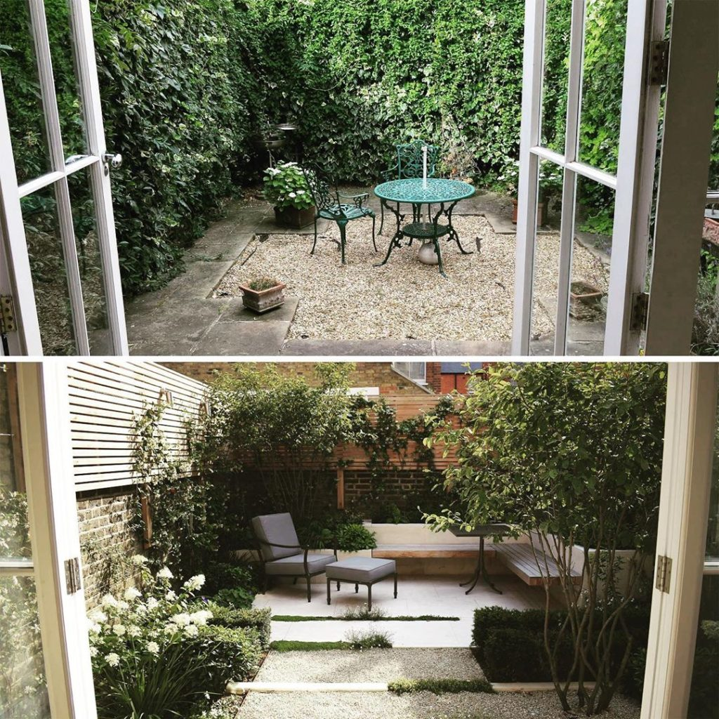 #beforeandafter from small plain #courtyard to more comfortable restful #garden ...