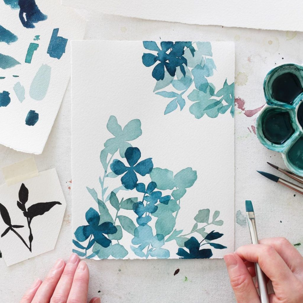 Layering little botanical studies and focusing on blues today! I will be adding ...