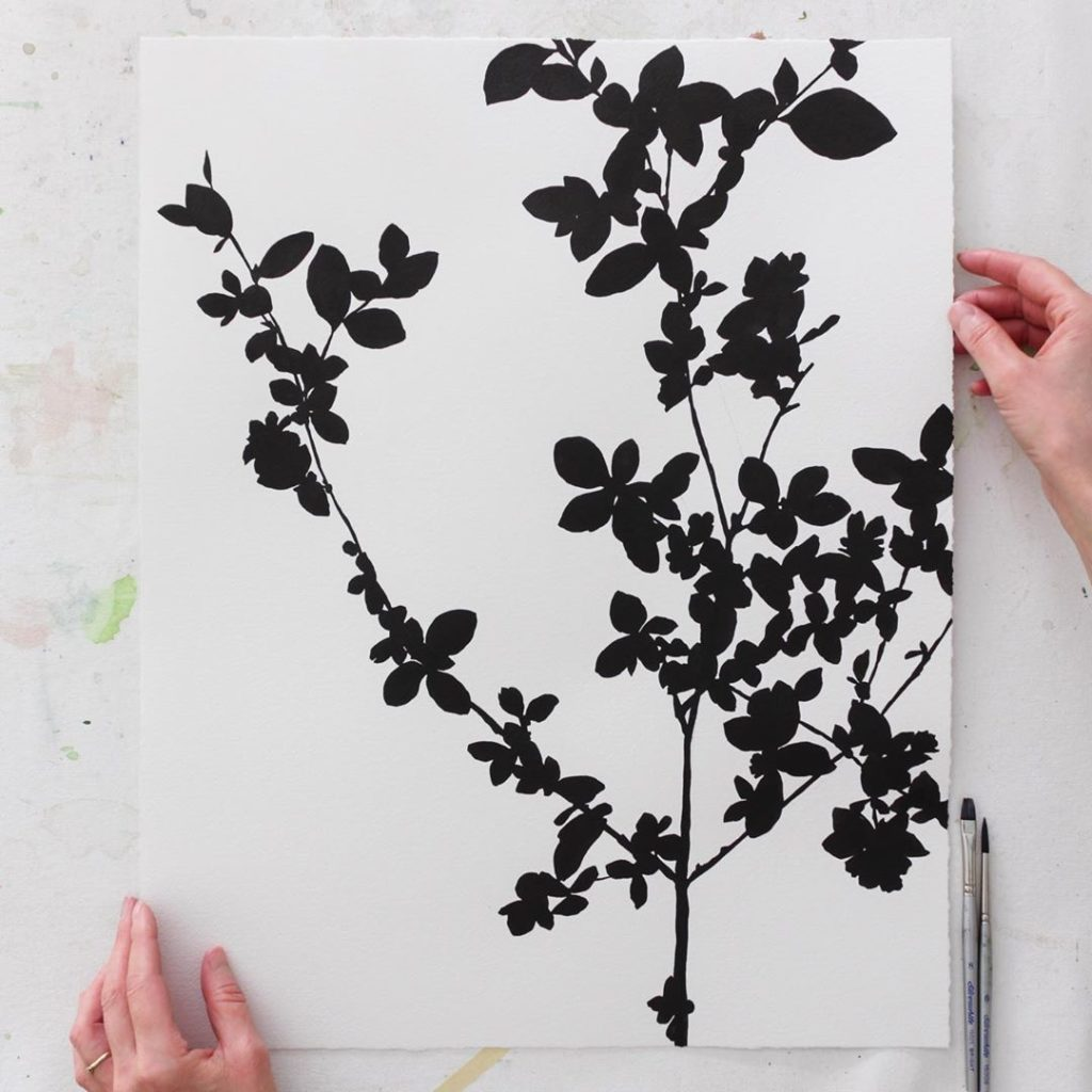 """Serissa japonica in Sumi ink, 16""""x20"""". I wish you guys could see the rich black ..."""