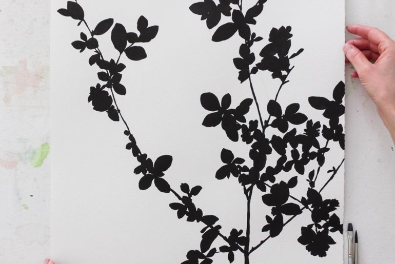 "Serissa japonica in Sumi ink, 16""x20"". I wish you guys could see the rich black ..."