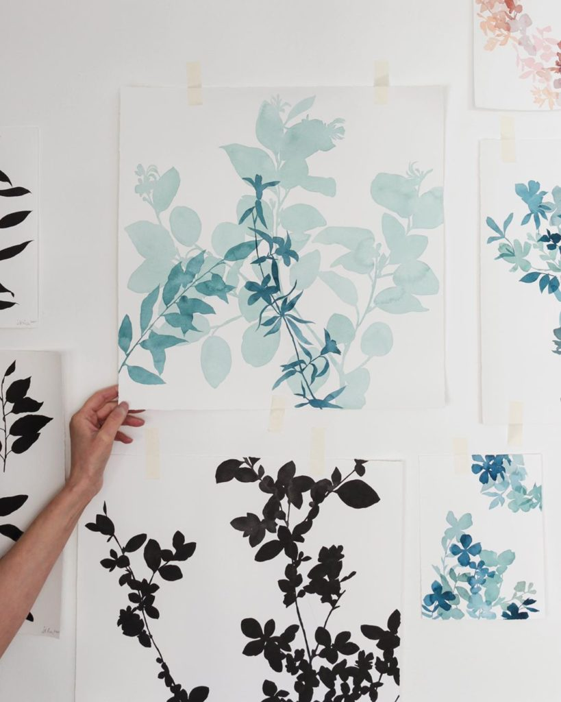 #wip still balancing this new botanical composition in blues, about halfway comp...