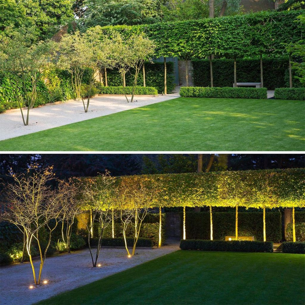 #dayandnight shot of a large #garden  #designed a few years ago. Formal #plantin...