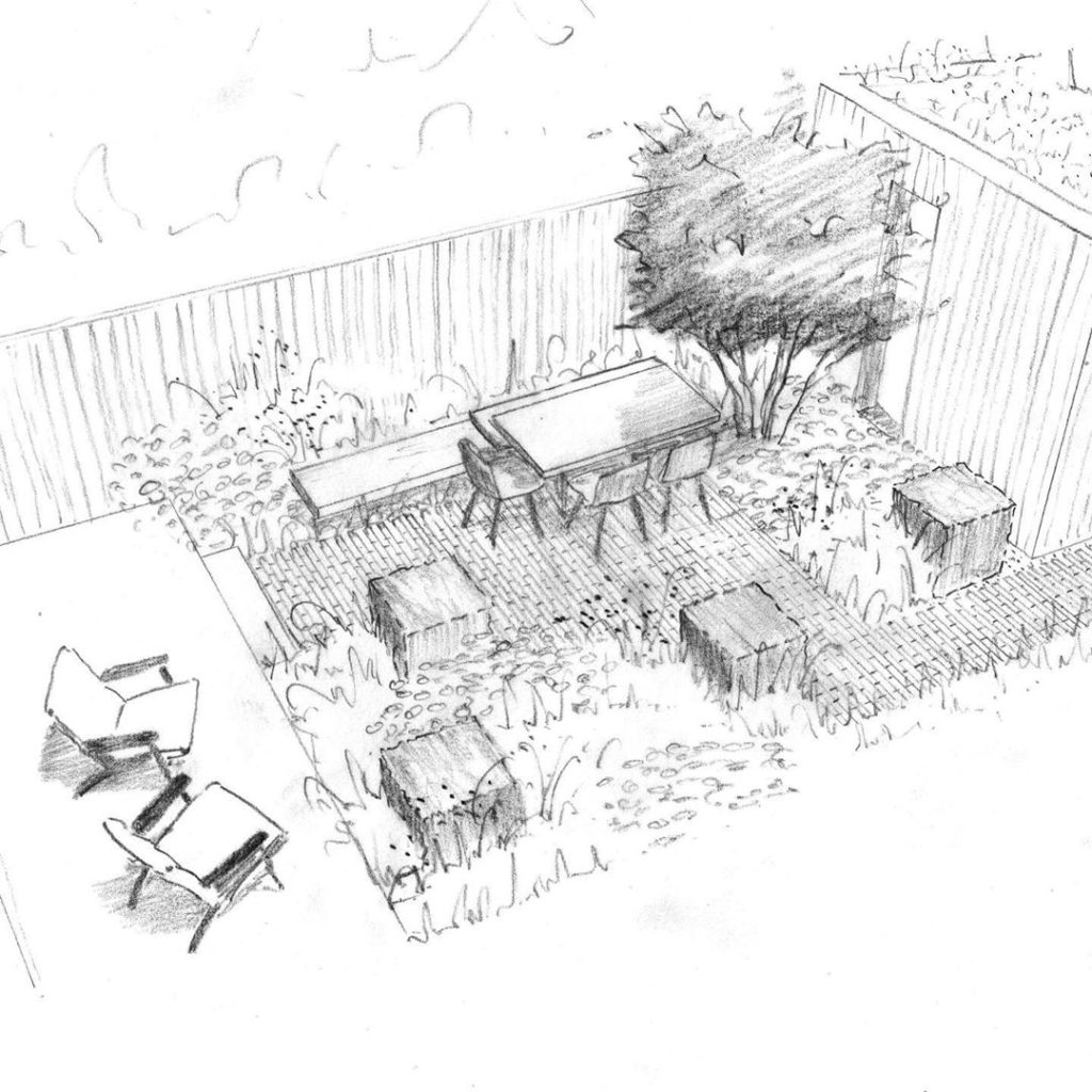 Sketch therapy... one option for a contemporary cottage garden.  Great to be wor...