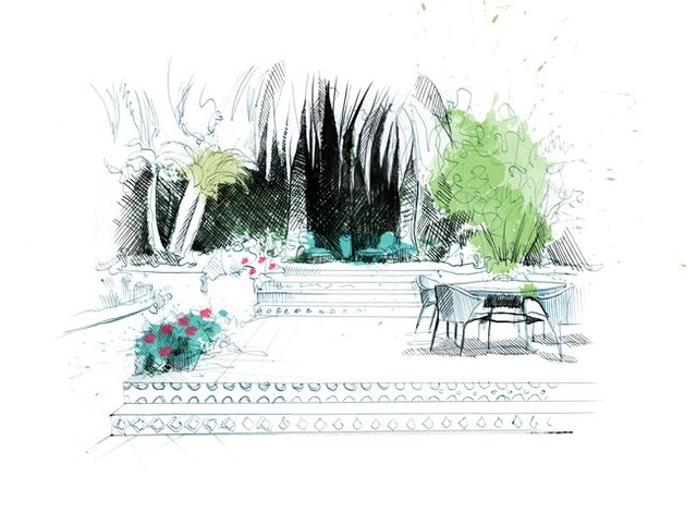 Garden Design Tip: Plant big to small. . start with trees, then shrubs, then per...