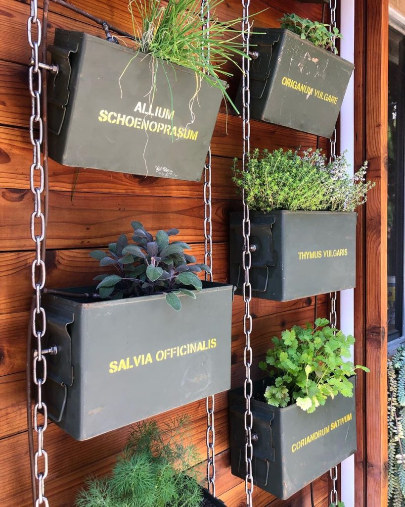 Herbs not ammo! We love repurposing ammo cans into narrow containers great for v...